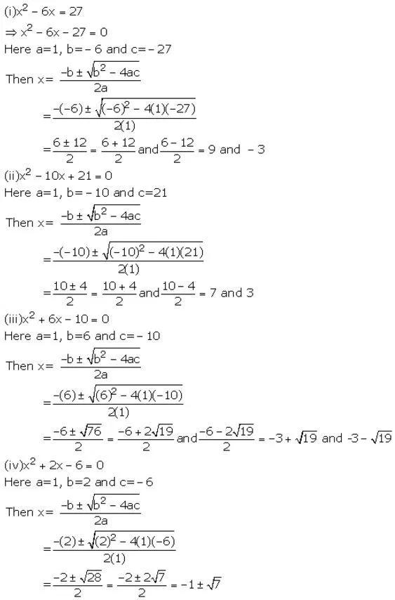Selina Concise Mathematics Class 10 Icse Solutions Quadratic