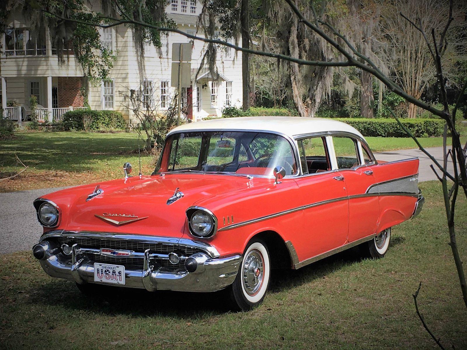 1957 Chevrolet Bel Air 150 210 4 Door Sedan Ebay Motors Cars
