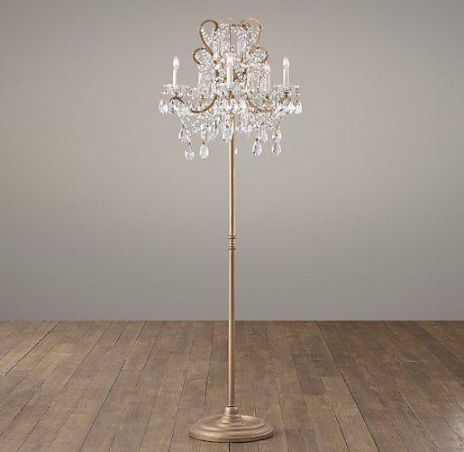 Manor Court Crystal 5 Arm Floor Lamp Aged Gold Crystal Floor