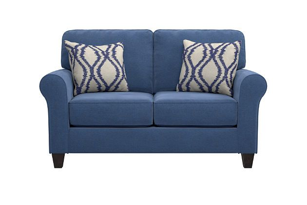 Best Aldy Loveseat And Pillows By Ashley Homestore Blue Love 400 x 300