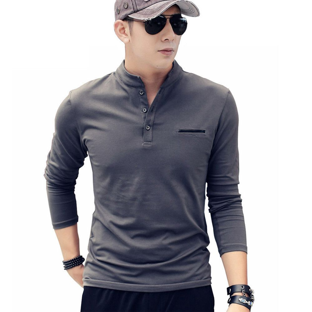 Hot Sale Autumn Winter Fashion Casual Style Men's Long Sleeve Fishtail T Shirt Cotton Solid Slim For Male