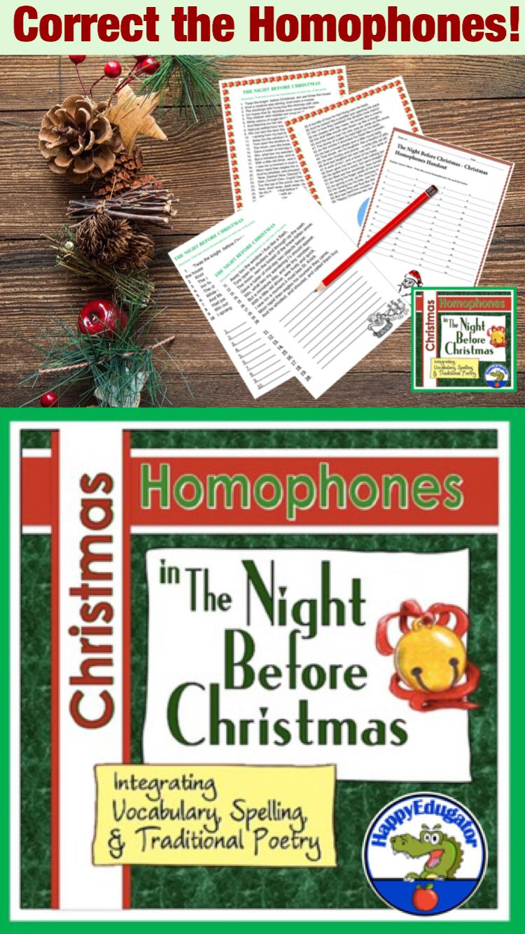 Christmas Homophones Search The Night Before Christmas