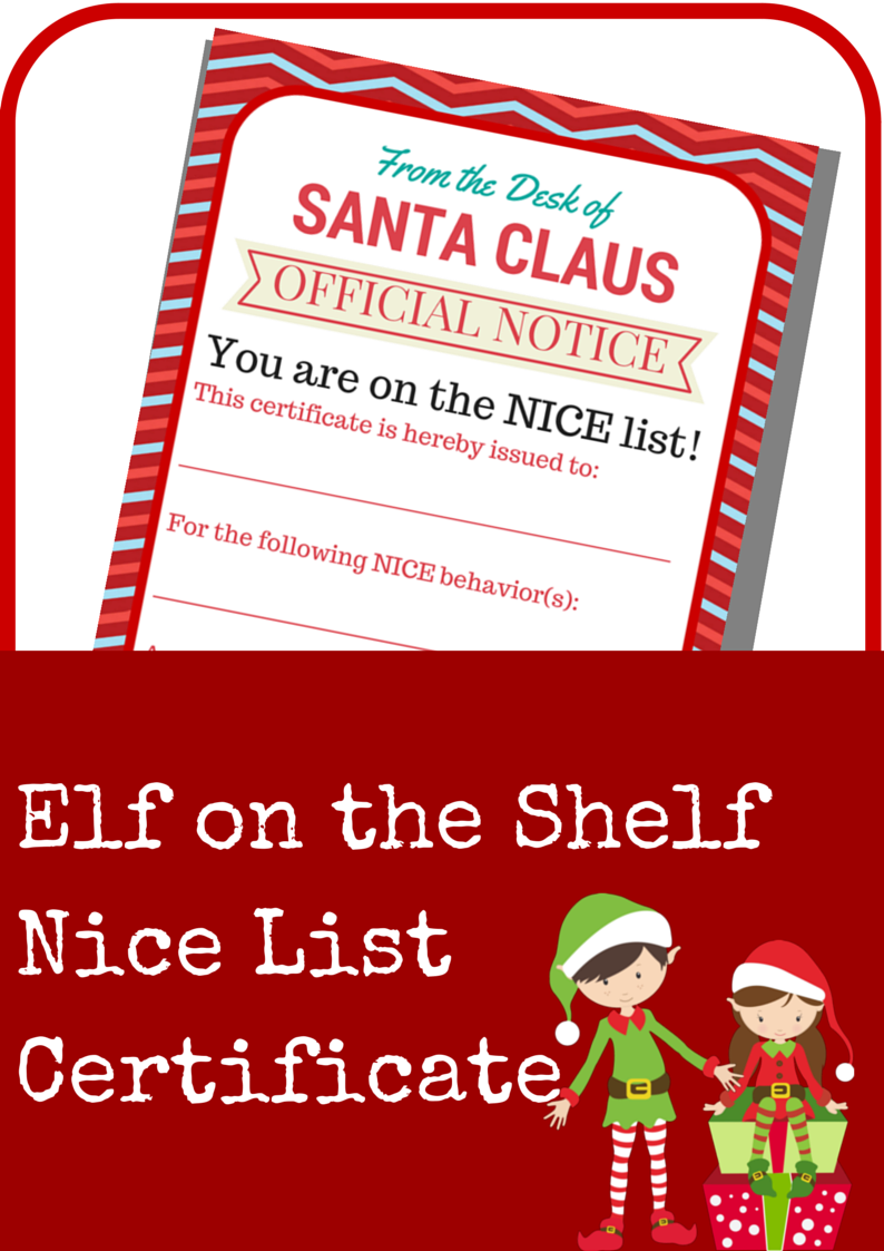 Elf on the Shelf Nice List Certificate Elf on the shelf