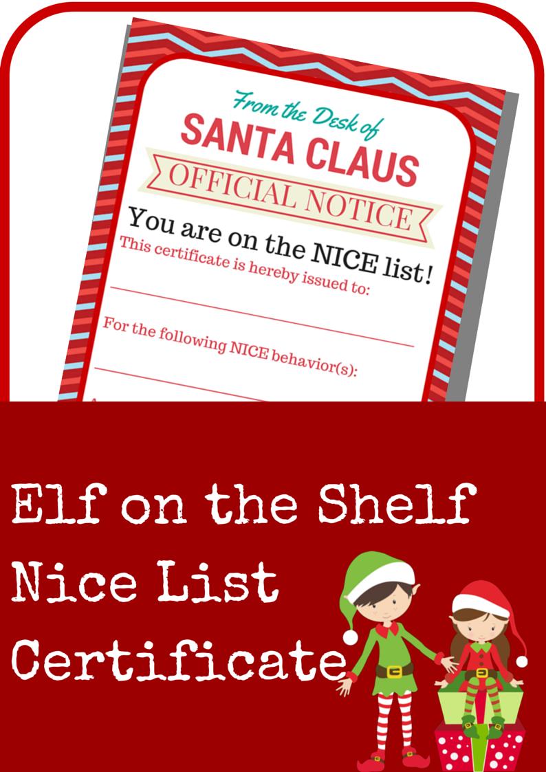 Elf on the shelf nice list certificate creative home family elf on the shelf nice list certificate yadclub Images