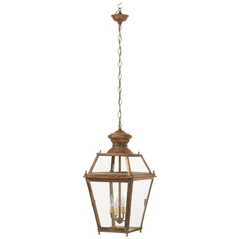 Incredible Antique French Copper Hanging Pendant Lantern Just Rewired