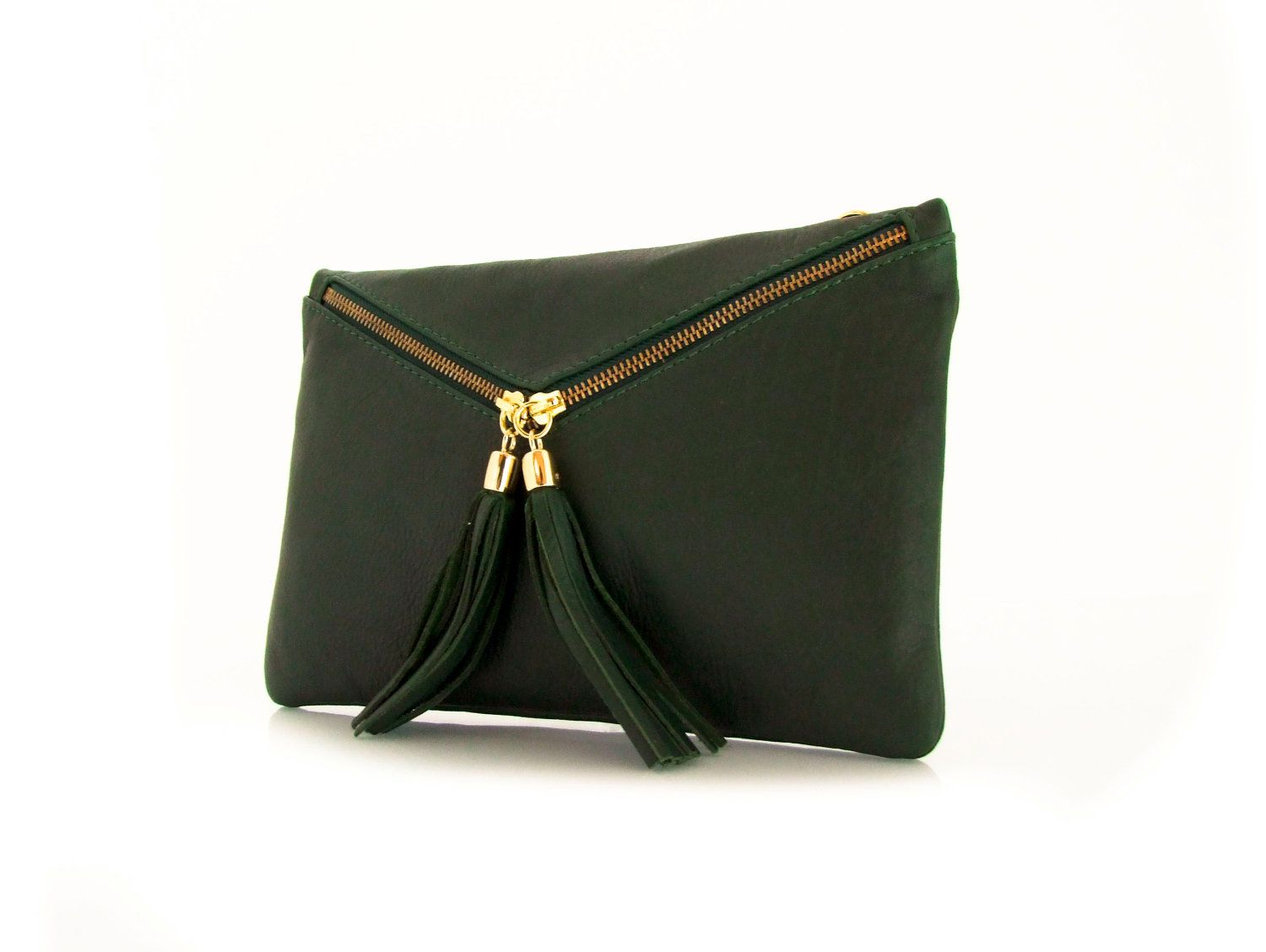 6f2a7c45b86 Handmade Leather Clutch Bag in dark Green -.- the Envelope -.- 20%  Christmas sale. $75.00, via Etsy.