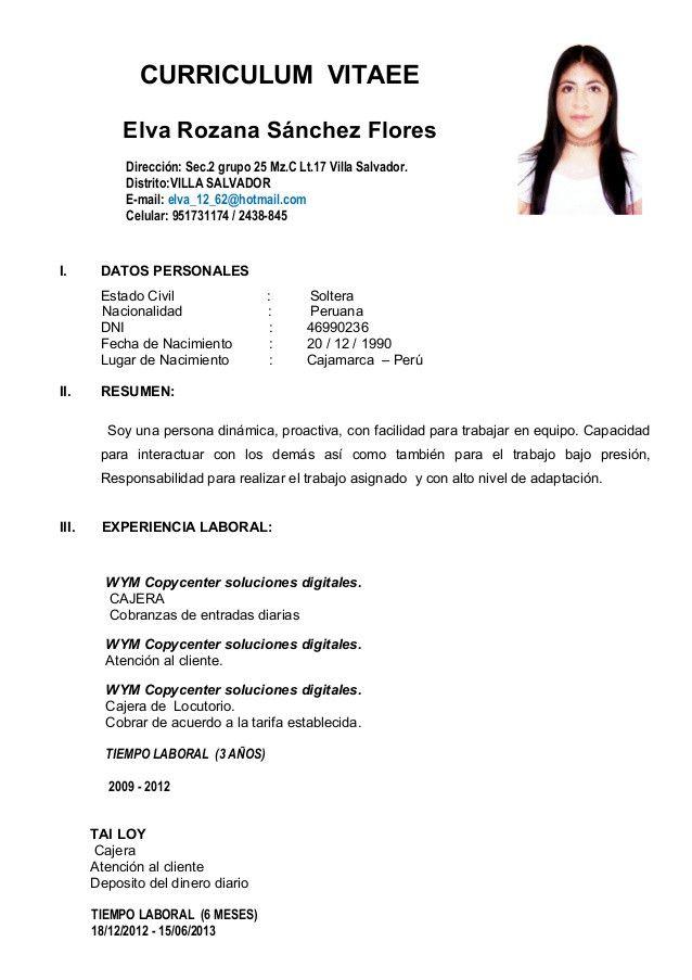 Basico Peru Modelos De Curriculum Vitae Curriculum Vitae