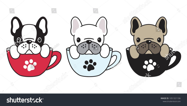 Dog Vector Logo Icon French Bulldog Pug Illustration Dog Bone Coffee Cup Cartoonicon French Bulld French Bulldog Drawing French Bulldog Cartoon Bulldog Drawing