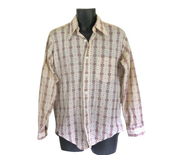 Men 70s Shirt Collared 1970s Retro Clothing Clothes Maroon Pink Button Down