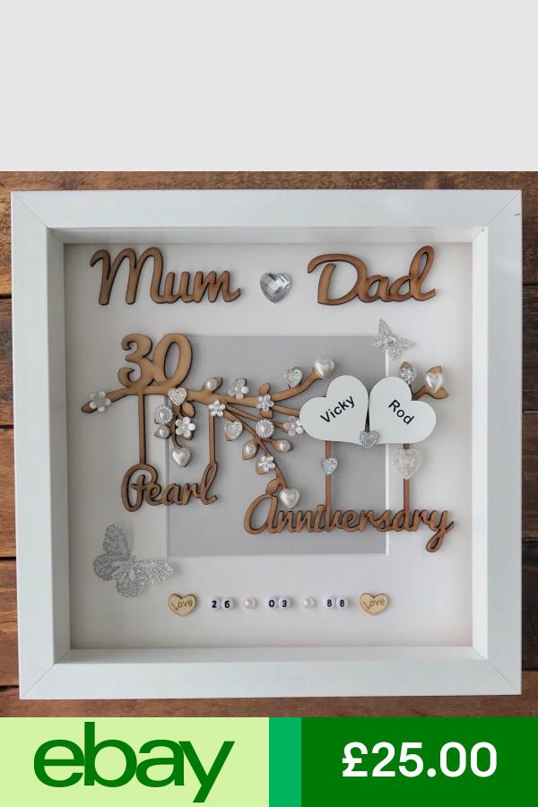Handmade Personalised Pearl 30th Wedding Anniversary Gift Frame Mum Dad Or Mam 30th 30th Wedding Anniversary Gift 30th Wedding Anniversary Anniversary Gifts