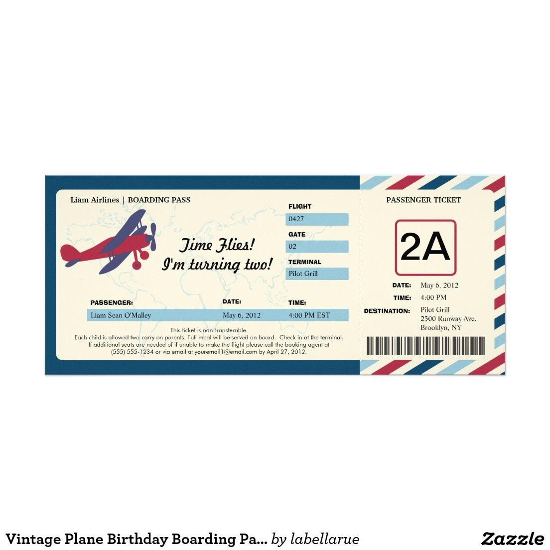 Vintage Plane Birthday Boarding Pass Ticket Invitation Zazzle