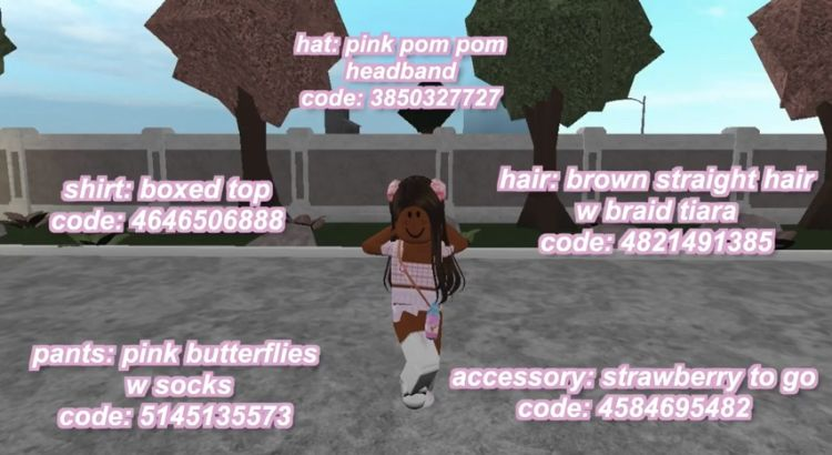 Athena Roblox Free Roblox The Game Pin By Athena On Bloxburg In 2020 Brown Straight Hair Pom Pom Headband Pink Butterfly