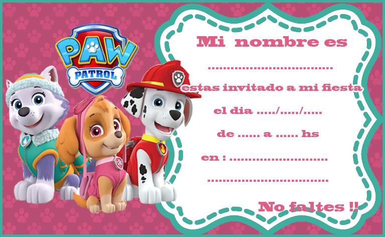 Invitacion Tarjetita Candy Bar Paw Patrol Nena Kit Imprimibl Tarjetas De Cumpleaños Para Niños Invitacion Cumpleaños Patrulla Canina Invitaciones De Paw Patrol