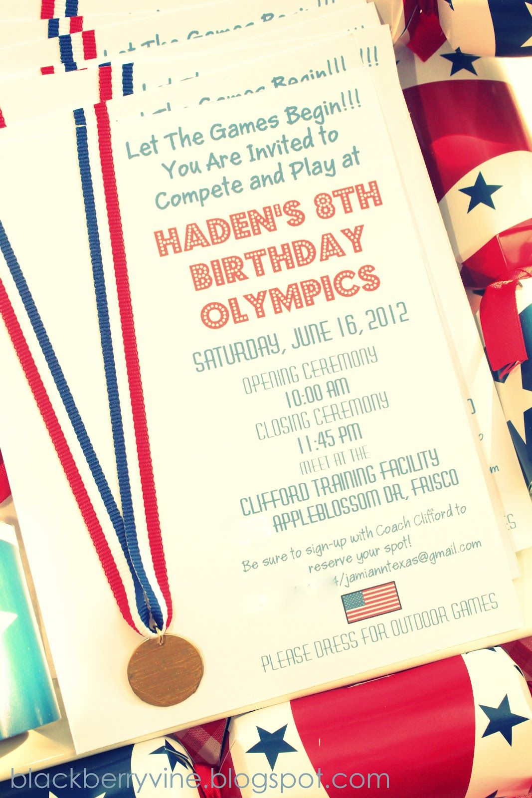 The Blackberry Vine Olympic Party Invitations Olympics Birthday