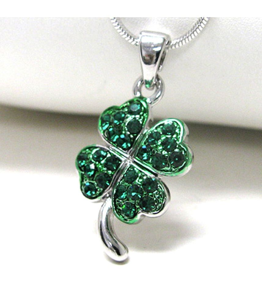 Green lucky shamrock necklace four leaf clover charm emerald green - Lucky Irish White Gold Crystal Saint Patrick Shamrock Green Leaf Clover Necklace