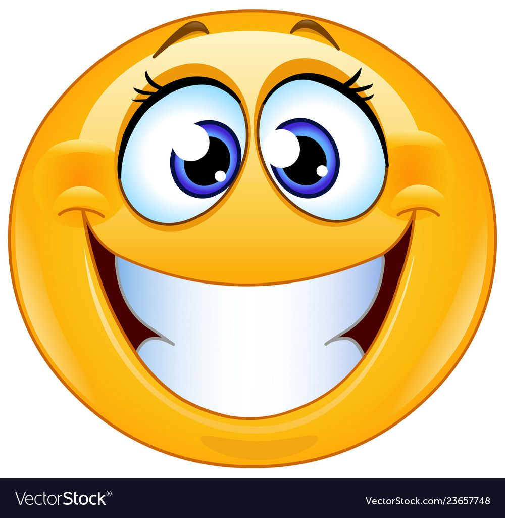 Grinning Female Emoticon With Big Toothy Smile. Download A