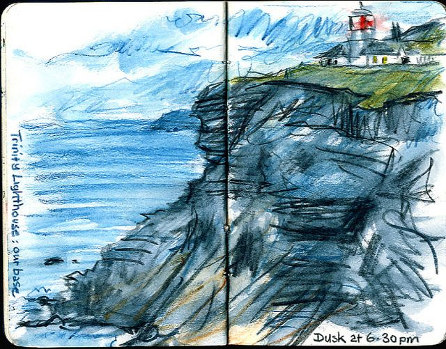 Whitby Lighthouse Urban Sketching Artist Sketchbook Watercolor