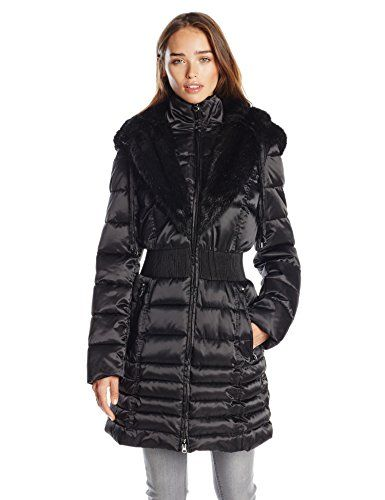 Laundry Women S Down Coat With Cinch Waist And Faur Fur Trim