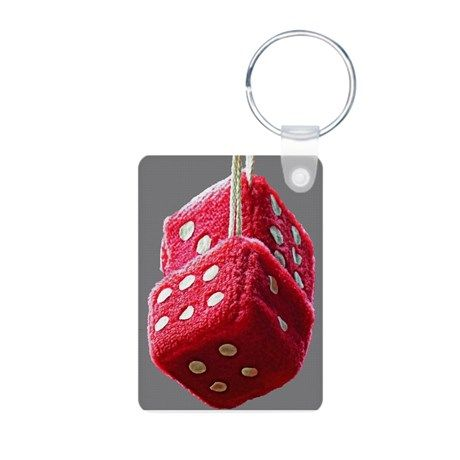 Red Fuzzy Dice Keychains on CafePress.com
