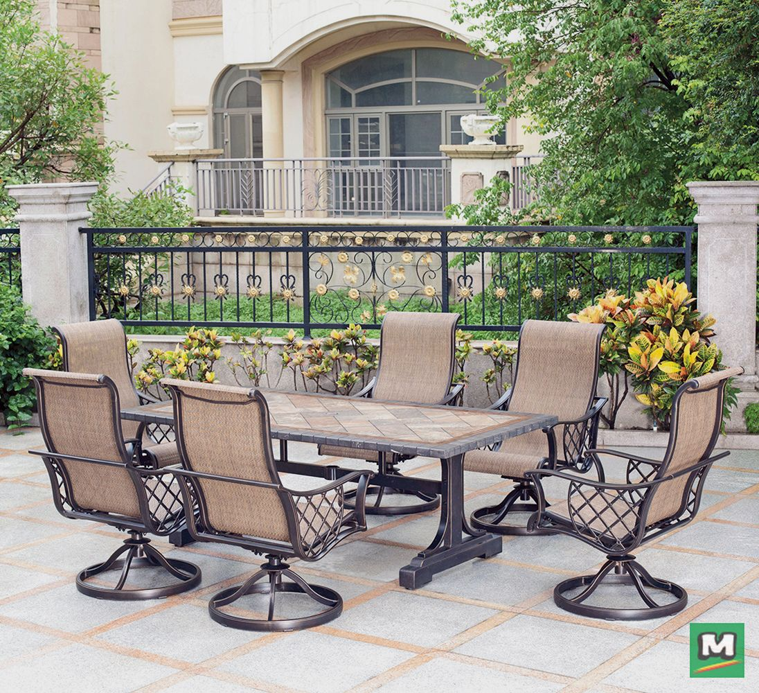 The 7Piece Dining Collection features a large