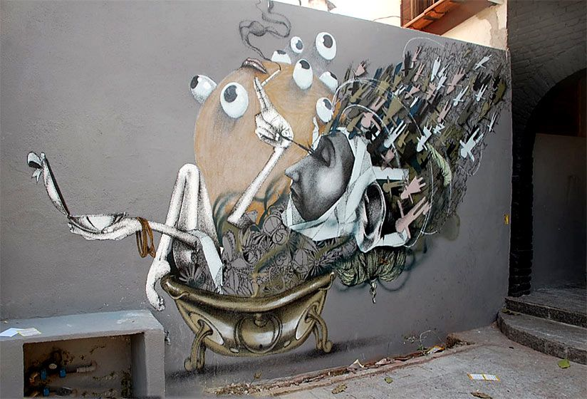 Claudio Ethos is a street artist out of the ordinary. The artist grew up in Brazil, Sao Paulo, a city which revolves around graffiti art.