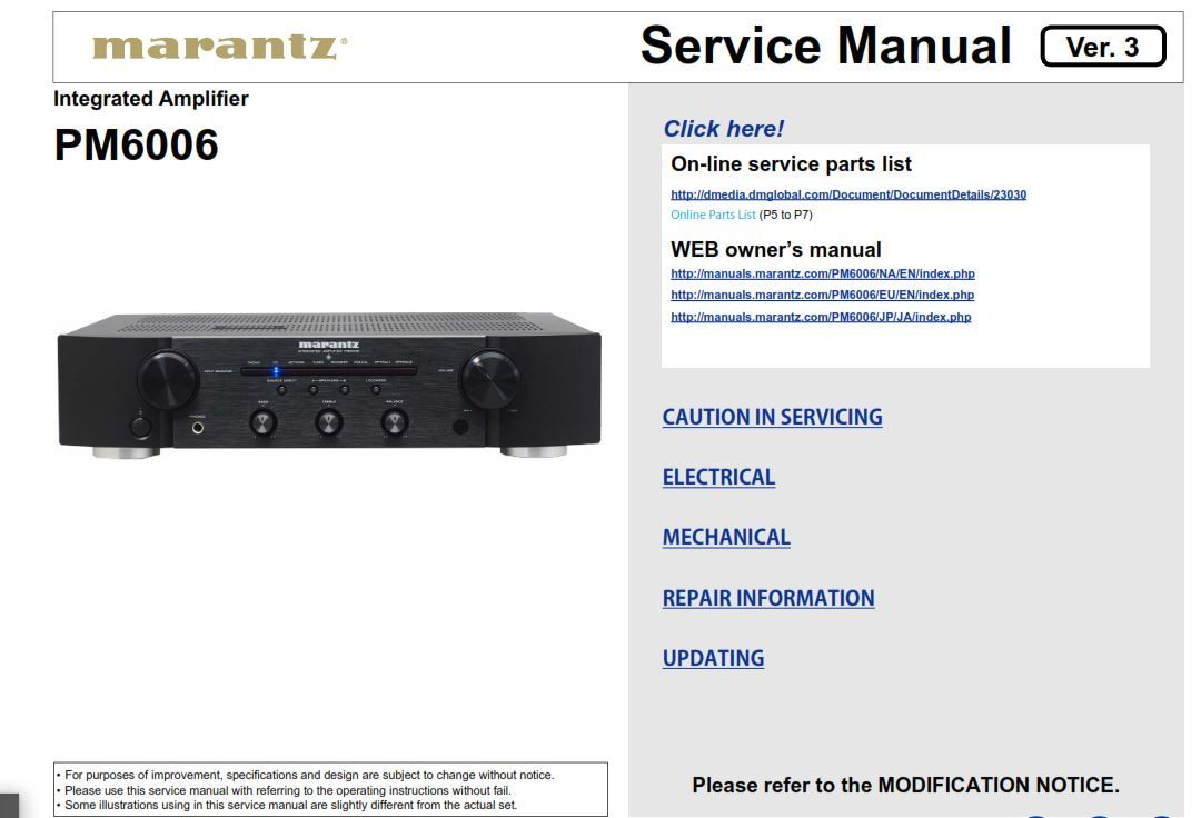 Marantz Pm6006 Integrated Amplifier Service Manual