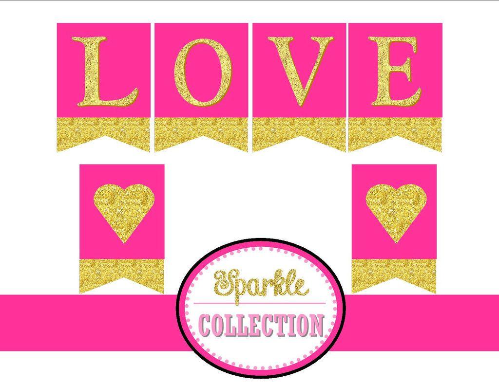 Bridal Shower LOVE BANNER - Pink and Gold Shower