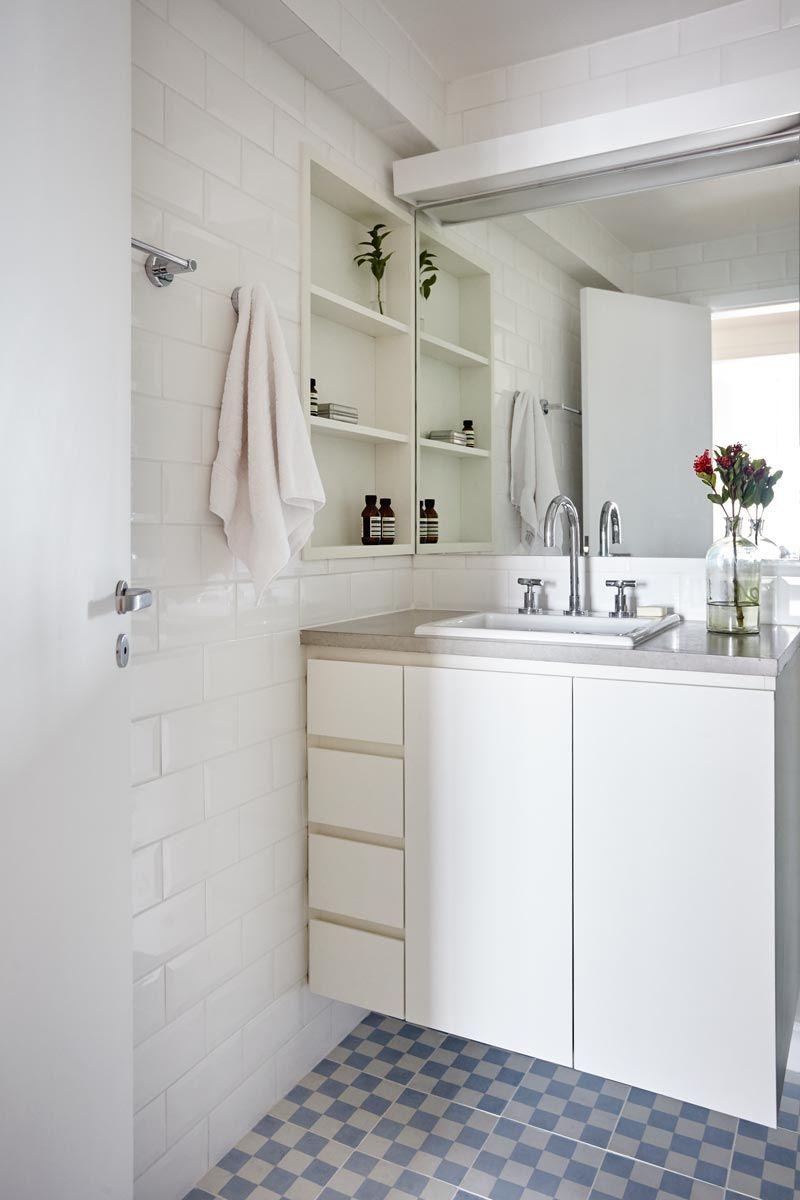 Ladrilho Hidraulico Piso Banheiro : Banheiro com piso de ladrilho hidr?ulico dama azul e