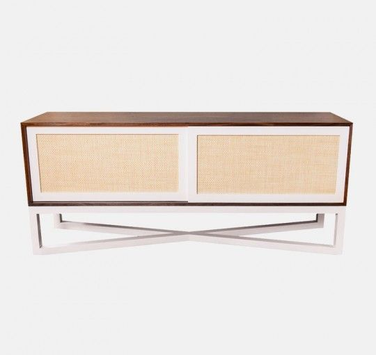 """Modern and elegant, the Caryn Cabinet's tall cross-base feature creates a light and airy flow to a space. Size: 72""""L x 18""""D x 30""""H, 2,995.00"""