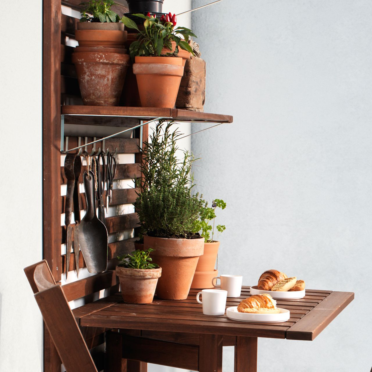 ÄPPLARÖ Wall panel+gateleg table, outdoor, brown stained