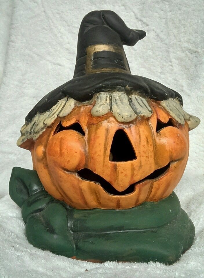 Vintage Halloween Pumpkin Witch Terra Cotta Decoration Jack O Lantern Vintage Halloween Halloween Pumpkins Pumpkin Witch