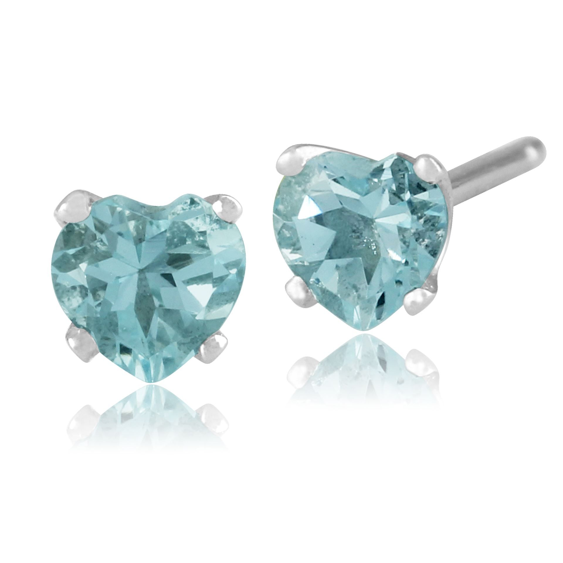 marine aquamarine aqua white gold earrings stud