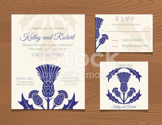 Wedding Invites Scotland: Wedding Invitation Template. Wooden Background With