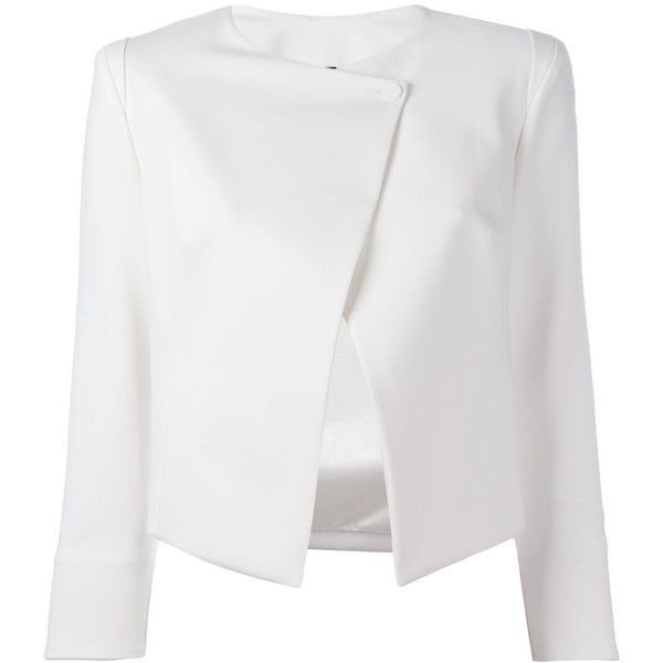 Plein Sud Jeanius asymmetric blazer (10.995 ARS) ❤ liked on Polyvore featuring outerwear, jackets, blazers, blazer, coats, tops, white, white blazer jacket, asymmetrical jacket and blazer jacket