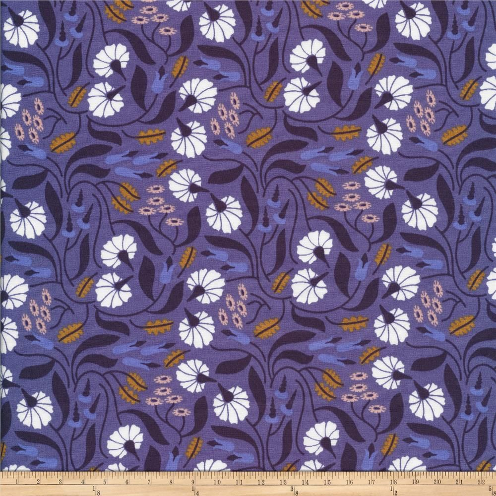 White Mint Teal Floral Leaf Blue 100/% GOTS Certified Cotton Fabric Organic POPLIN Elizabeth Olwen Scattered Leaves Flower Cloud9