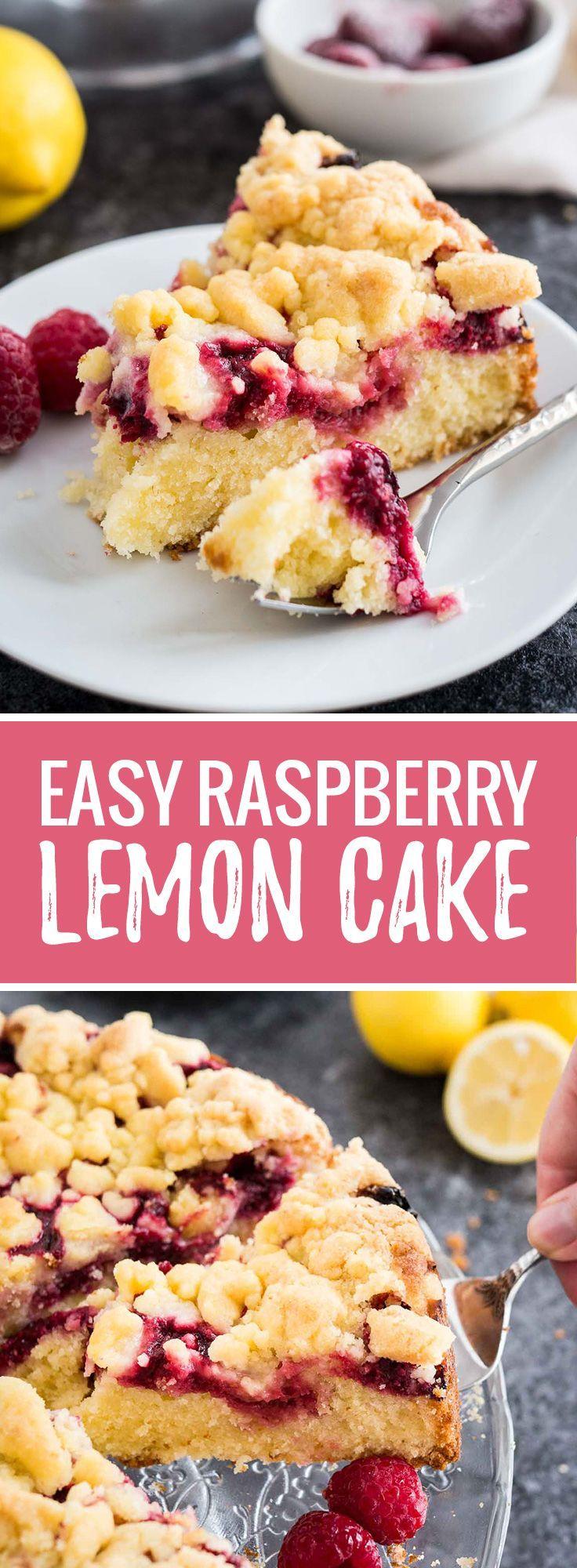 easy lemon raspberry cake with crumb topping recipe