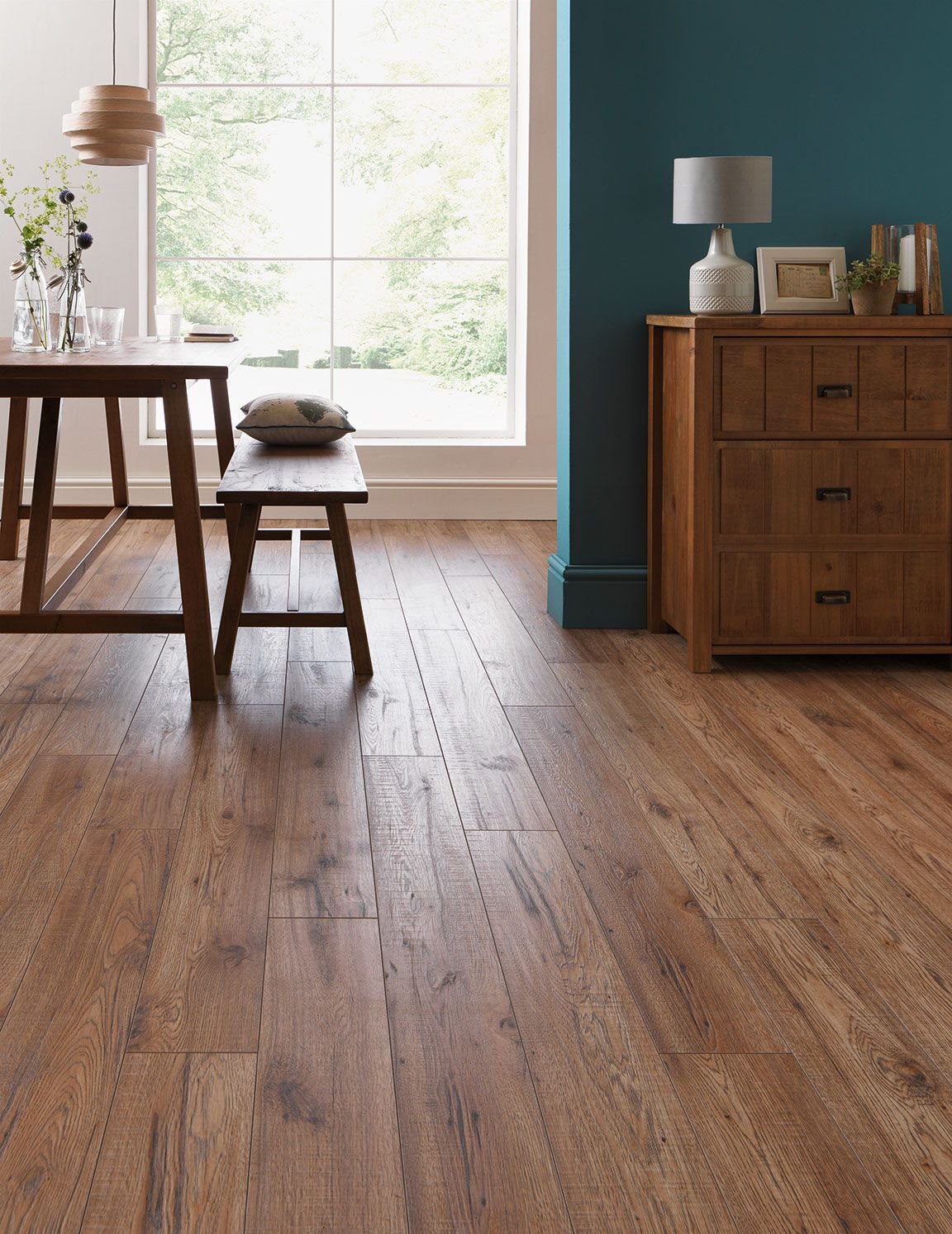 Vintage Pewter Oak Natural Laminate Floor With Wear And Spill - Laminate flooring in the kitchen