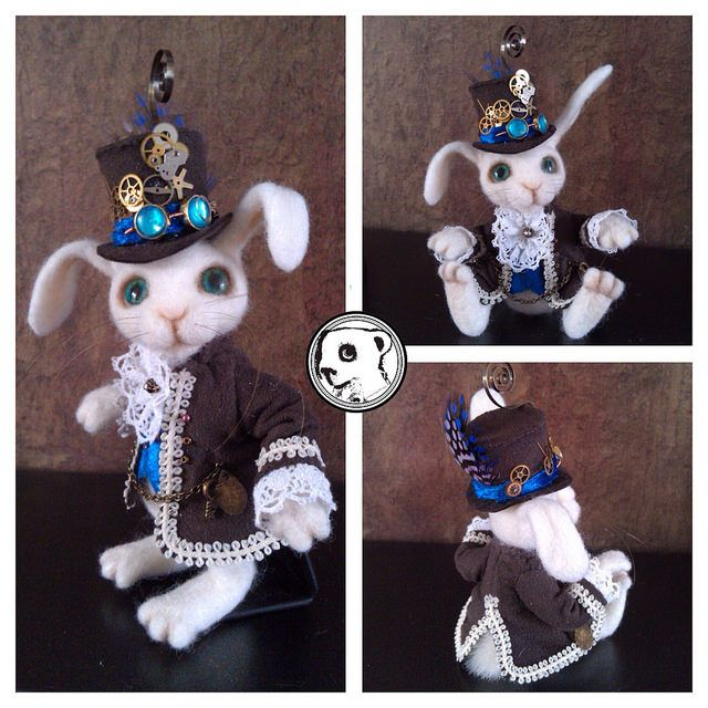 Very dapper steampunk bunny #handmade #needlefelted #feltvisual | Flickr - Photo Sharing!