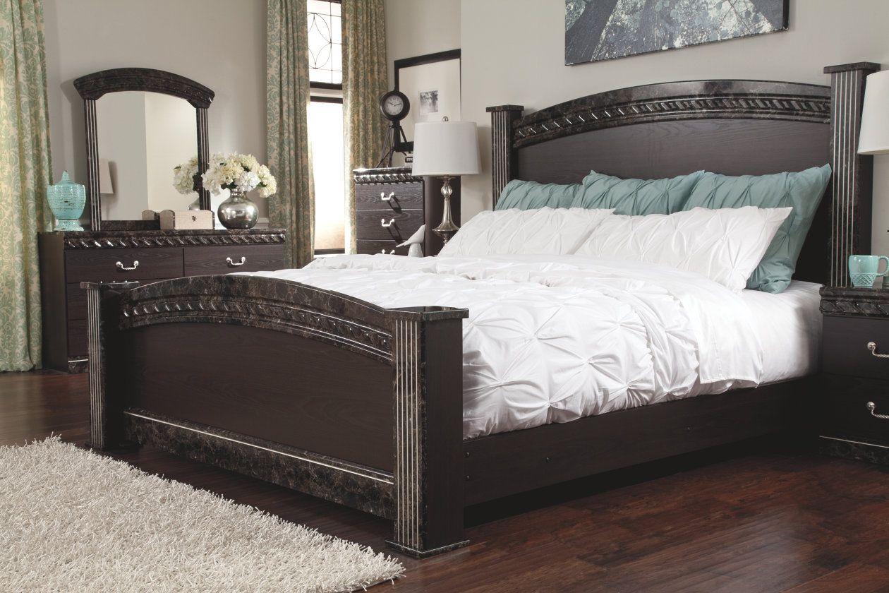 vachel queen poster bed  ashley furniture homestore