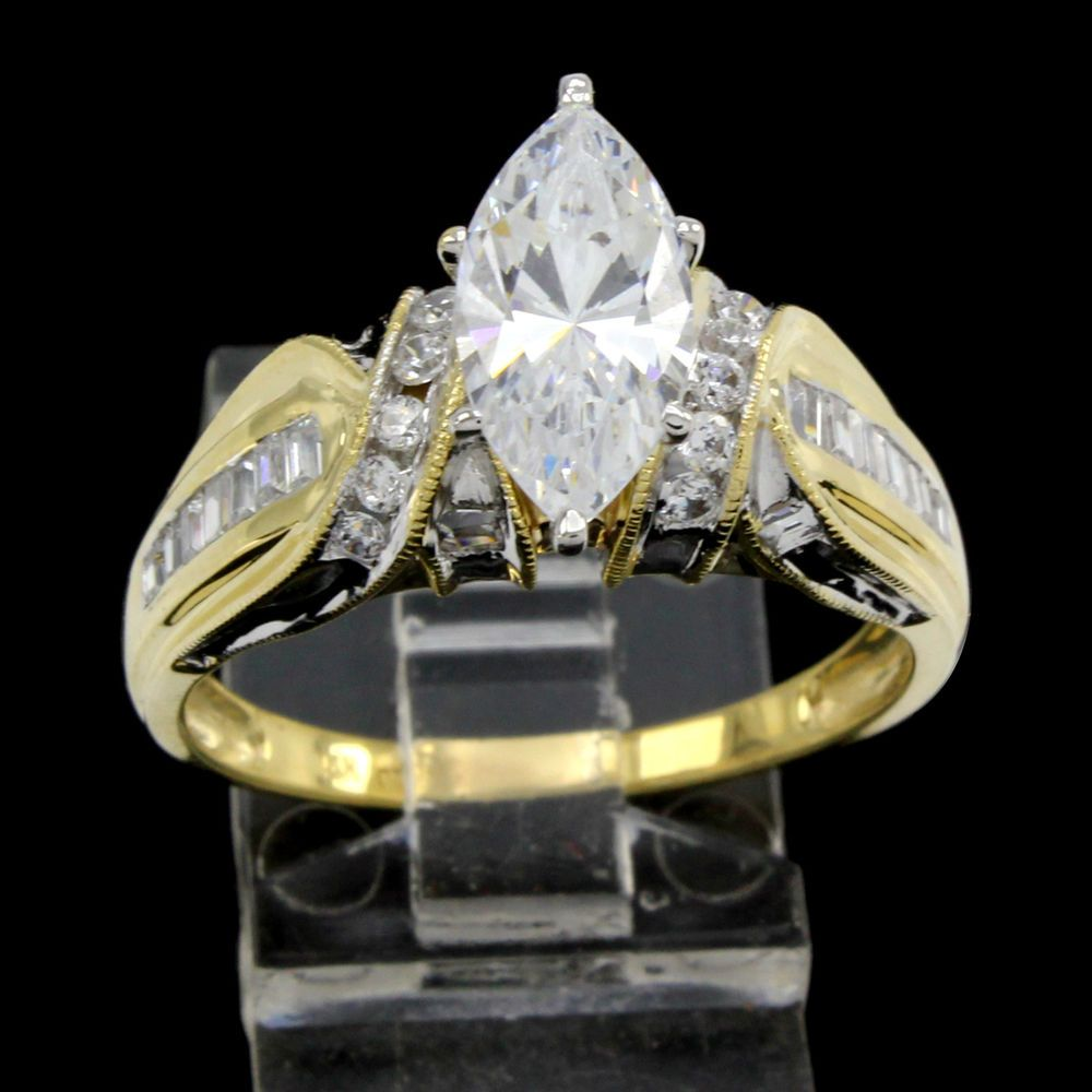 Estate Solitaire 3.00ct Marquise Cut VVS Diamond 14K Yellow Gold Engagement Ring #Prelovedjewelry #SolitaireEngagement #(F-50-117462-39)