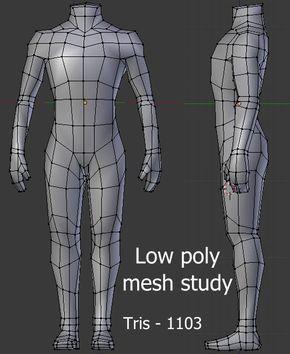 Lowpoly body mesh study 3d 모델링, 와이어 프레임, 3d 캐릭터