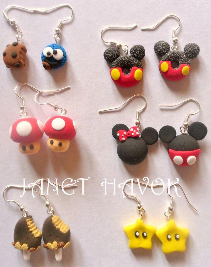 7ea46f85eab9 Aretes de Jumping Clay !! Aretes de Arcilla polimerica!! Polymer Clay  Earrings!!