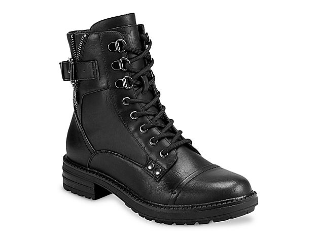 Black military boots with large platform and heel