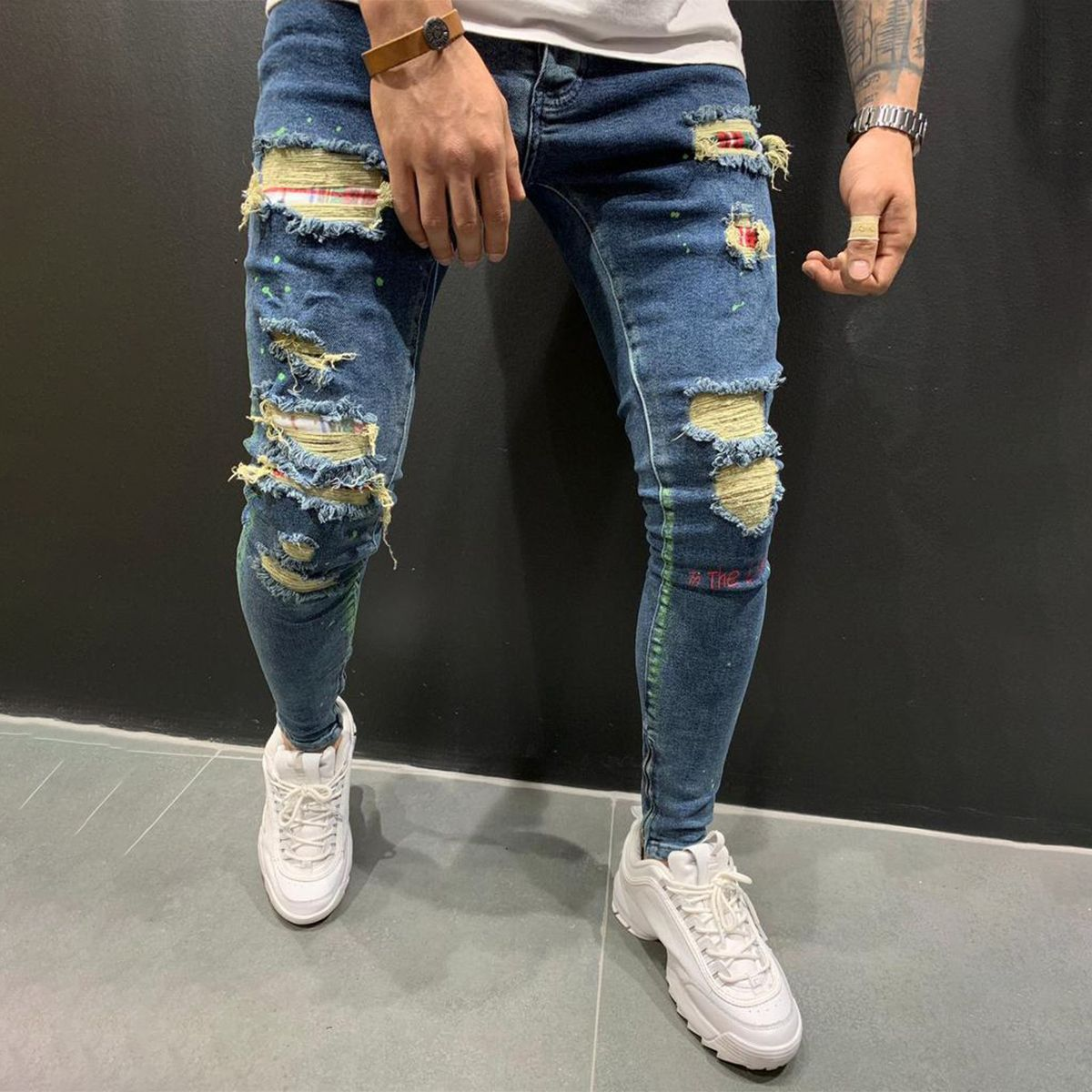 Ripped&Repaired Jeans Patched - Blue Finding a new style isn't hard for you nowadays! So why are you taking so long to get something new?   Ripped&Repaired Jeans Patched - Blue $67.99 USD