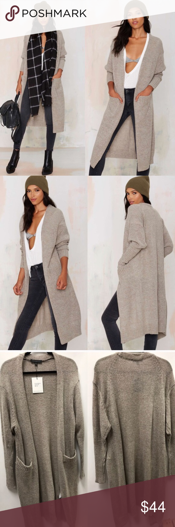 Nasty Gal so heated duster cardigan Hot as hell! This duster cardigan is wool mix knit in taupe.15% wool 30% nylon 47% acrylic 8% mohair.  A fitted forearm keeps this over sized cardigan feminine, while the duster length is reminiscent of menswear inspired coats. Made by dance and marvel sold out at nasty gal Nasty Gal Sweaters Cardigans
