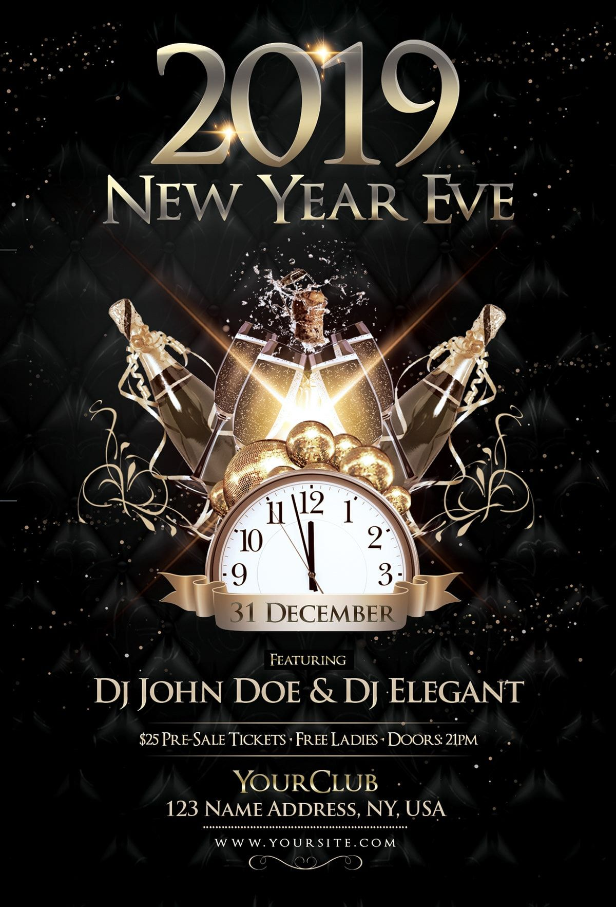 2019 Nye Event Free Psd Flyer Template