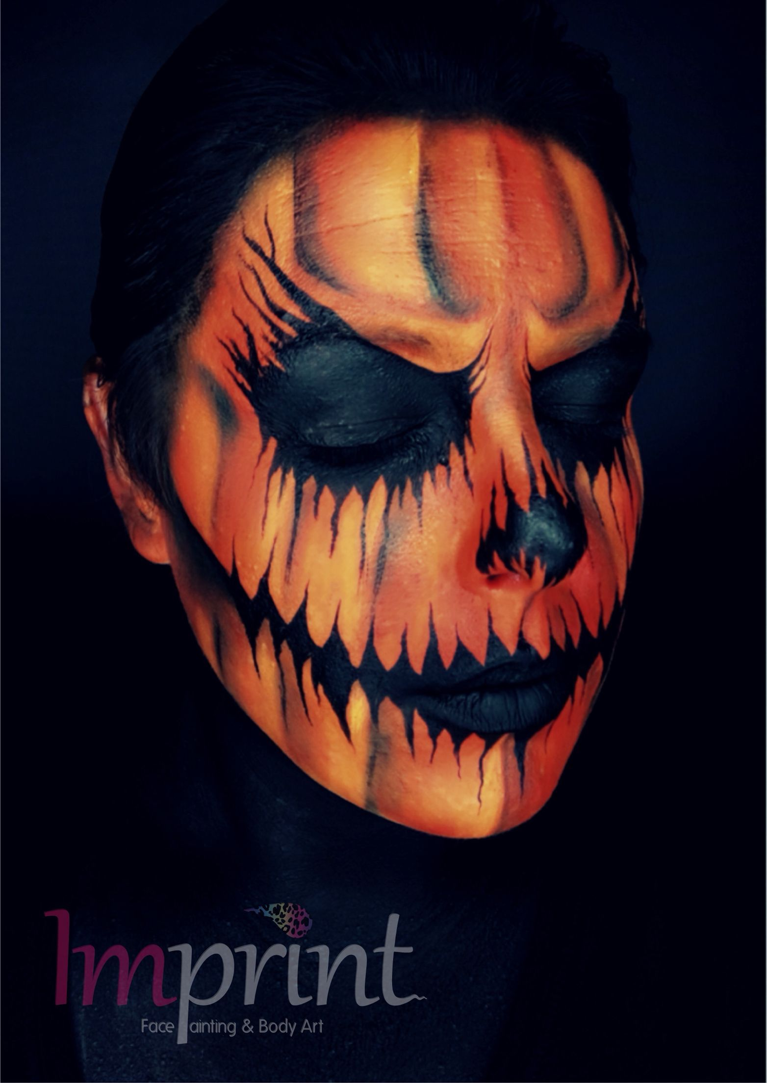Scary Pumpkin Face Paint For Halloween Halloween Pumpkin Makeup Scary Halloween Costumes Scary Pumpkin Faces