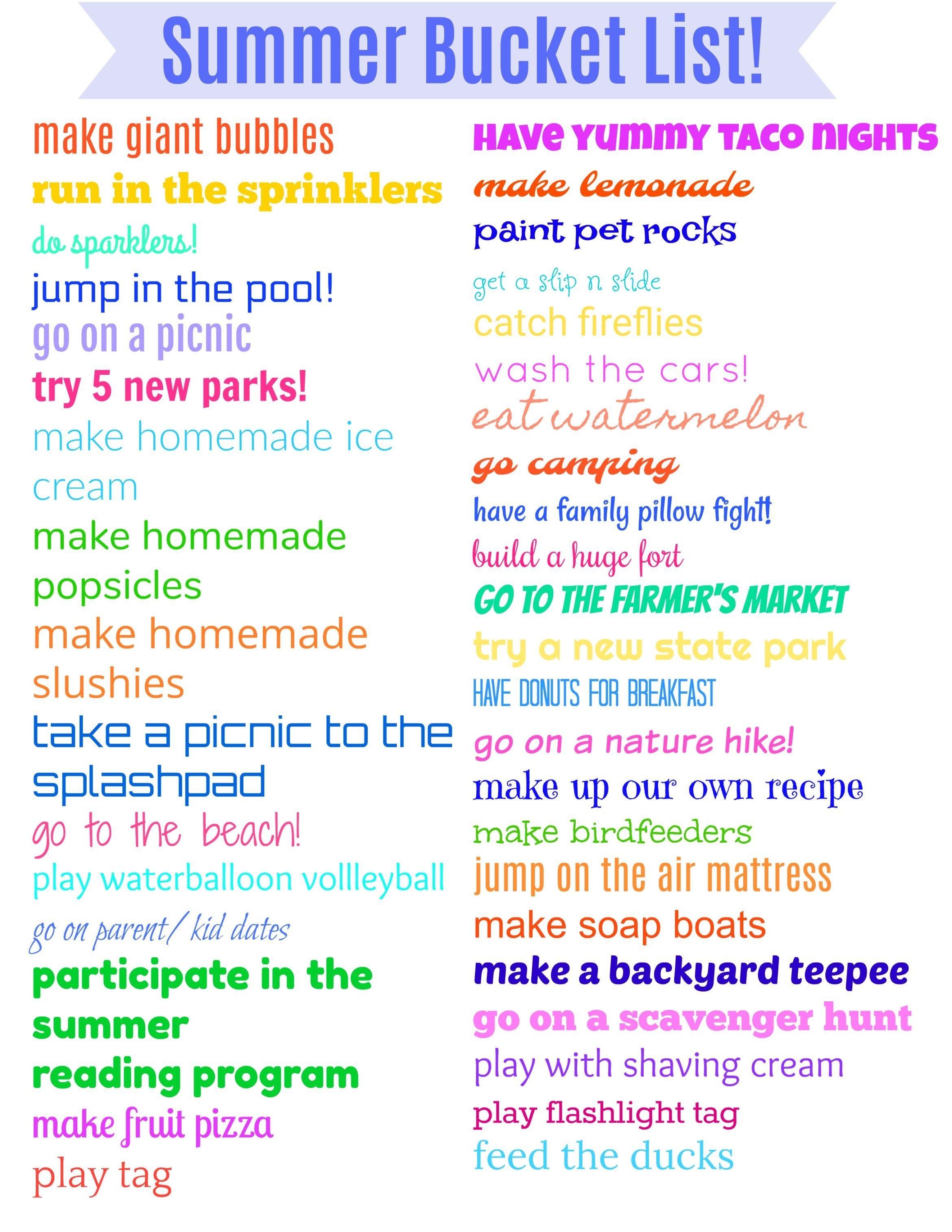 Summer Bucket List For Preschoolers Amp Toddlers