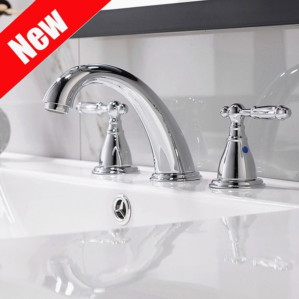 8 Inch 3 Hole Widespread Bathroom Faucet With Metal Pop Up Drain