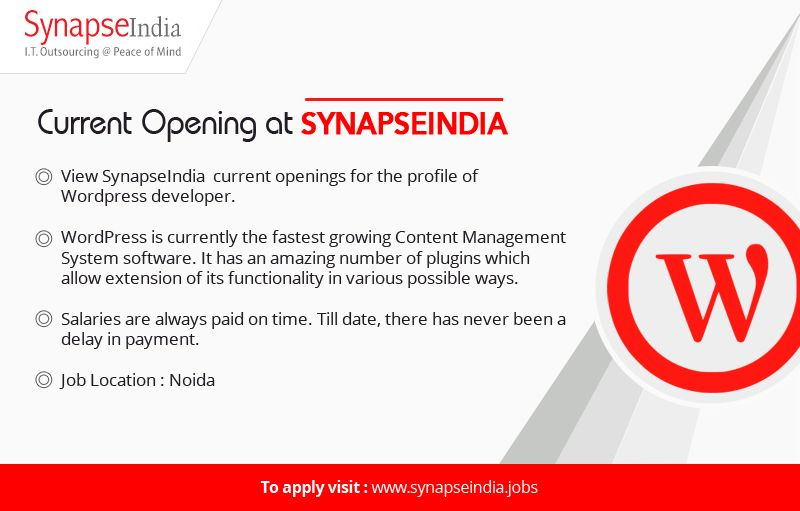 Follow our linkedin page to stay updated about current job openings with SynapseIndia: https://www.linkedin.com/organization/10365906/